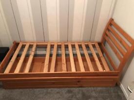 Wooden single bed frame