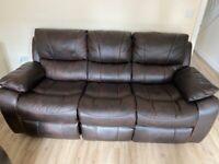 Harveys 3 Seater Leather Dark Brown Sofa