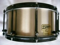 "Zldjian by Noble& Cooley sand cast cymbal bronze snare drum 14 x 6 1/2"" - #0173 - 1989 - rare drum"