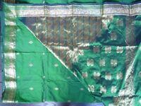 Emerald Green Handwoven Banarasi 100% Silk Sari, blouse & skirt - Gold Zari embroidery NEW