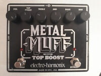 EHX Electro Harmonix Metal Muff Top Boost Guitar Effects pedal *SERVICED* FUZZ black metal overdrive