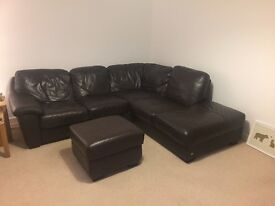Chocolate-Brown Leather Corner Suite Sofa with Footrest