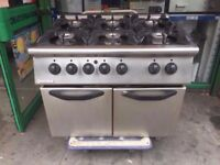 FASTFOOD 6 BURNER FLAME GAS COOKER + OVEN COMMERCIAL MACHINE CATERING TAKEAWAY DINER PUB KITCHEN