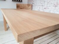 Any Size Oak All Over Dining Kitchen Table Chunky Natural Finish AB Grade Smooth