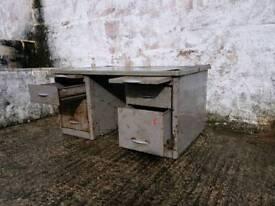 Vintage industrial steel desk