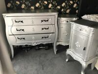 Chest of drawers and side tables