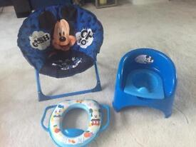 Mickey Mouse folding chair, potty and toilet seat