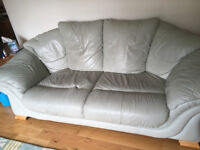 Pale Green 3 Seater Leather Sofa (matching suite)