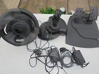 Microsoft Gamming gear one Microsoft steering wheel,one joystick sidewinder, Plus