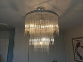 Isla 7 clear glass rod 3 tier chandelier £250