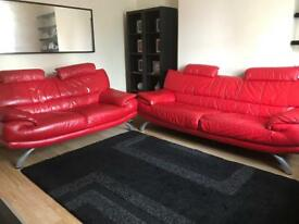 3 Seater AND 2 Seater Red Sofas