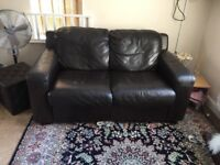 Genuine brown leather 2 seater sofa for sale