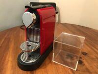 Red Nespresso Krups Coffee Machine Maker & Clear pod storage cube