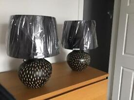 TABLE LAMPS X 2 with CERAMIC BASE AND NEW SHADES