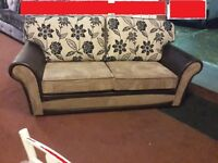 CHELSEA 3+2 HAND MADE SOFA IN JUMBO MINK AND FLORAL FABRIC CUSHION WITH BODY IN SNAKE BROWN £359