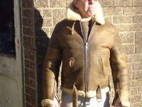 Vintage Sheepskin Bomber Jacket