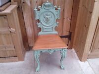 PAINTED VINTAGE SOLID MAHOGANY SHEILD BACK CHAIR SCROLLS CARTOUCHE HALL BEDROOM DINING KITCHEN