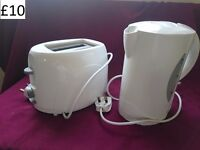 New, white toaster and kettle combo