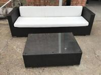 FREE DELIVERY RATTAN 3 SEATER SOFA AND GLASS TOP TABLE SET GREAT CONDITION