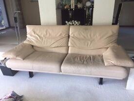 Italian Designer Sofa in cream leather