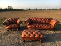 Chesterfield Tetrad 3 Seater Sofa, Club Chair and Footstool