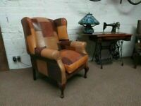 Laura-Ashley Patchwork Leather Chair (Professionally Recovered)