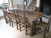 Oak Refectory Table and 6 Ladder back Chairs + 2 Ladder back Carvers