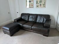 Brown Leather Sofa & Pouffe with storage