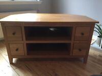 John Lewis solid oak corner TV unit