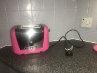 Morphy Richards pink kettle and toaster