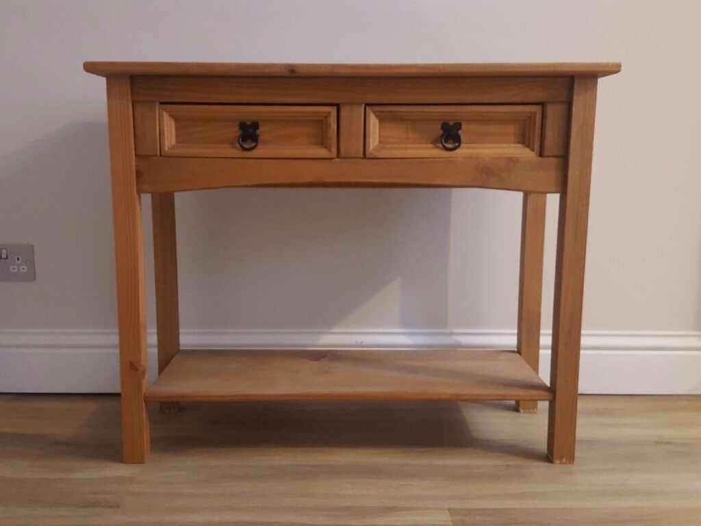 Corona Solid Pine Console Table With Two Drawers And Shelf In