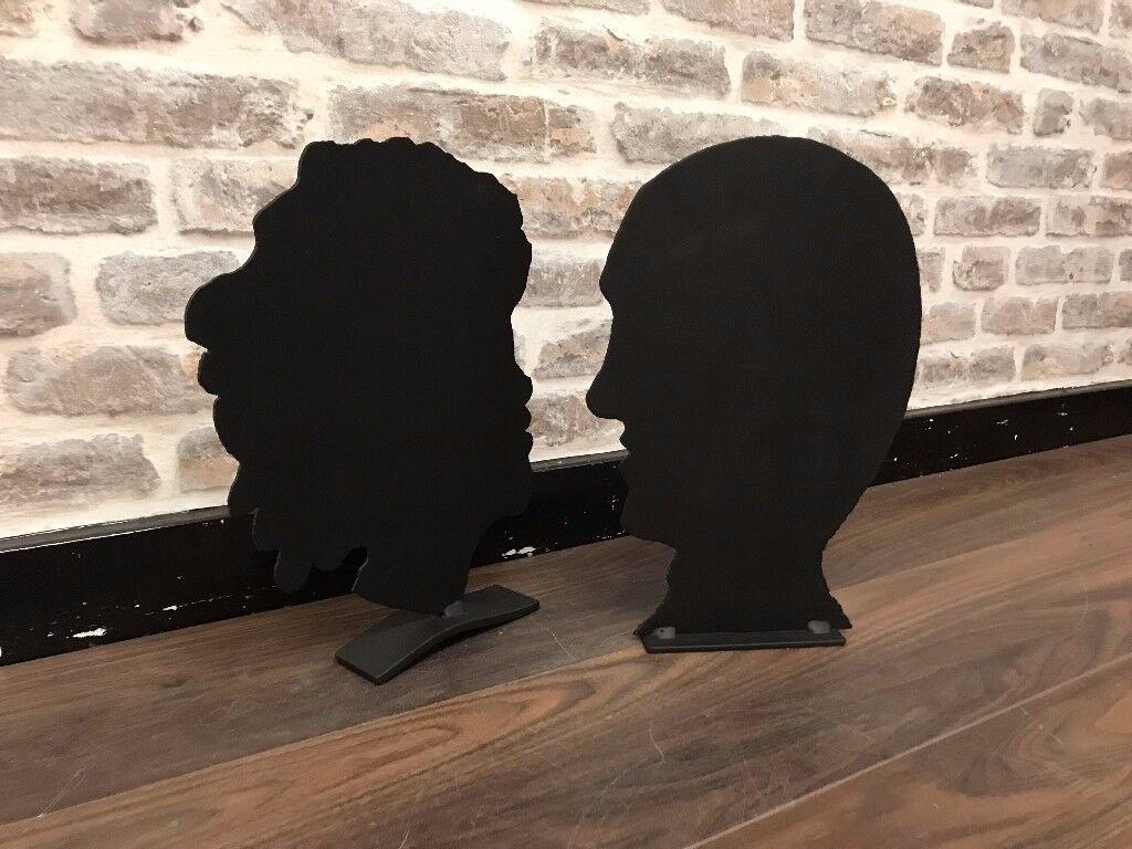 Black Head Silhouettes - Pair
