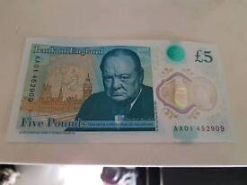 NEW FIVE POUND NOTE SERIAL NUMBER AA01