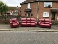3 2 1 seater Sofa in an oxblood leather ALL RECLINING