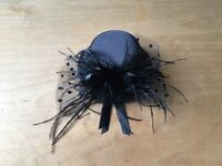 Mini hat fascinator, black satin with bow, feather, 2 hair clips