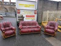 3+1+1 oxblood sofa with storage drawers in oak wooden frame