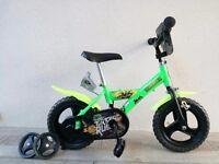 "(2552) 12"" Lightweight DINO Boys Girls Kids Bike Bicycle+STABILISERS; Age: 2-4; Height: 80-95 cm"