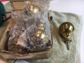 8 globe brass door handles, new.