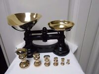 Vintage/traditional kitchen scales & Brass Bell Weights (DELIVERY AVAILABLE)