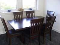 dineing table 6 leather chairs