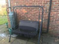 Garden swing with awning
