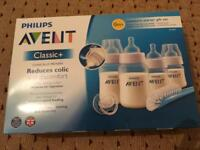 Avent Classic & Newborn Starter Set Baby Feeding Bottles with Soother & Brush BRAND NEW