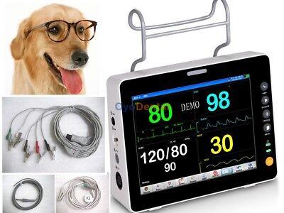 Temp Veterinary Patient Monitor Jr2000b-vet 8tft Lcd Icu Ecg Nibp Spo2 Resp