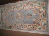Lounge or bedroom carpet,floral, pale blue background, in good conditiion