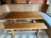 Pine table and bench. Sold subject to pick up