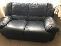 Navy blue 2 leather sofa