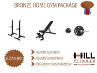 Bronze Home Gym Package Weights Gym - Bench, Weights Sets, Squat Racks
