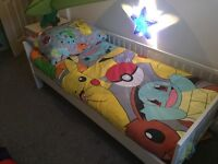 Toddler bed Ikea 1year old, white, will fit mattress 160x70cm from a smoke free home new condition