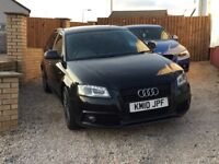 AUDI A3 1.8 TFSI S LINE ,SPORTBACK ,BLACK EDITION,BLACK IN COLOUR, FSH ,VERY HARD TO FIND WITH SPEC