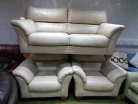 Cream leather 3 seater sofa and 2 arm chairs 3 piece suite